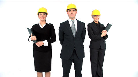 Construction architect team posing isolated on white Stock Video Footage