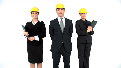 Construction architect team posing isolated on white Footage