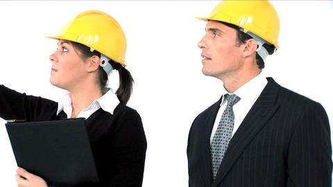 Close up of construction team on white background Stock Video Footage