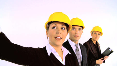Construction architect team isolated on white, motion jib Footage