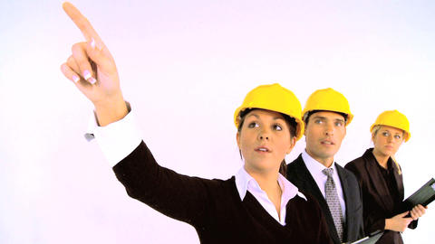 Construction architect team isolated on white, motion jib Stock Video Footage