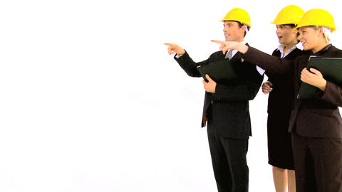 Construction architect team isolated on white Stock Video Footage