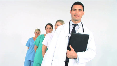 Medical team in a row isolated on white Stock Video Footage