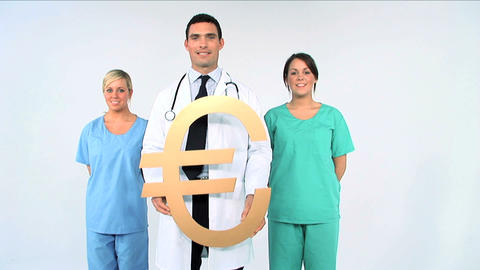 Medical team with euro symbol on white background Stock Video Footage