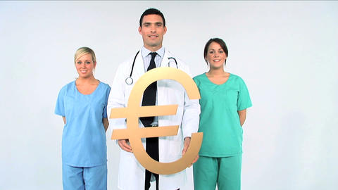 Medical team with euro symbol on white background Footage