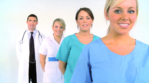 Medical team isolated on white, motion jib Footage