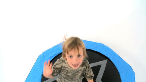 Boy on Trampoline Stock Video Footage