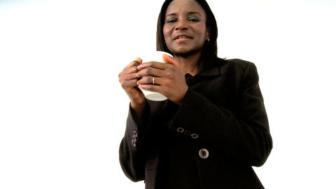 Beautiful american african woman holding mug Footage