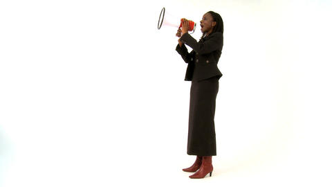 African american businesswoman shouting through a megaphone Live Action
