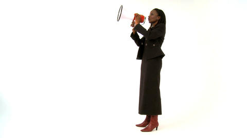African american businesswoman shouting through a megaphone Stock Video Footage