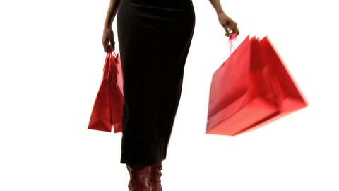 Beautiful african american woman with ping shopping bags Stock Video Footage