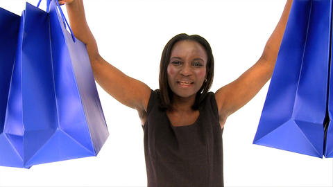 Attractive african american woman holding several... Stock Video Footage