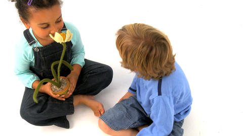 African american girl and blonde boy playing with flower, motio jib Footage