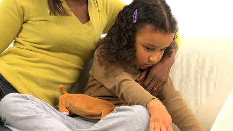 African american mother and her little daughter using a... Stock Video Footage