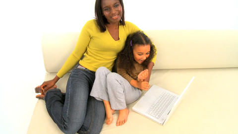 African american mother and her little daughter, motion jib Stock Video Footage