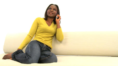 Attractive african american woman on mobile phone... Stock Video Footage