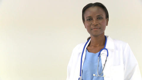 A portrait of an african american female doctor Stock Video Footage