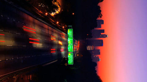 Vertical time-lapse scene of night traffic in LA Stock Video Footage