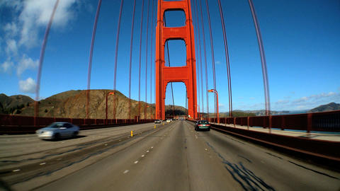 Point-of-view with fish-eye lens of driving on the Golden Gate Bridge Footage