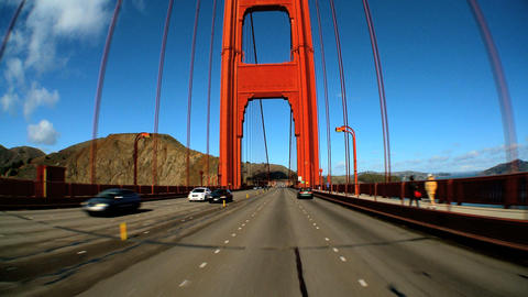Point-of-view with fish-eye lens of driving on the Golden... Stock Video Footage