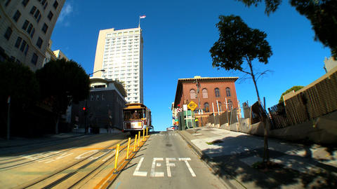 Point-of-view with fish-eye lens driving the streets of San Francisco Footage