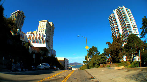 Point-of-view with fish-eye lens driving the streets of... Stock Video Footage