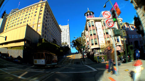 Timelapse point-of-view with fish-eye lens driving the streets of San Francisco Footage