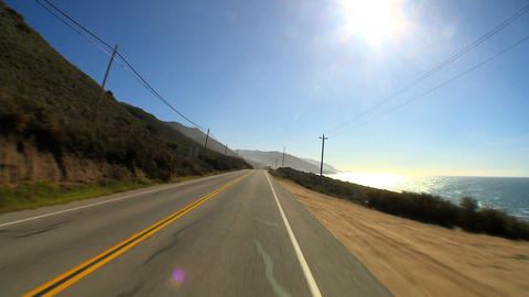 Point-of-view driving the Pacific Coast highway Footage