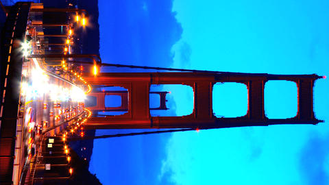 Vertical timelapse of night traffic on Golden Gate Bridge Stock Video Footage