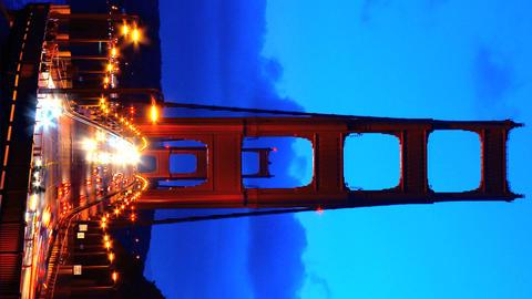Vertical timelapse of night traffic on Golden Gate Bridge Stock Video Footage