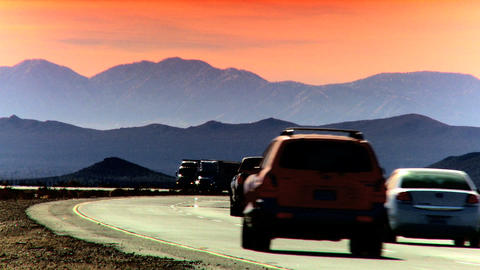 Highway traffic at sunset Stock Video Footage