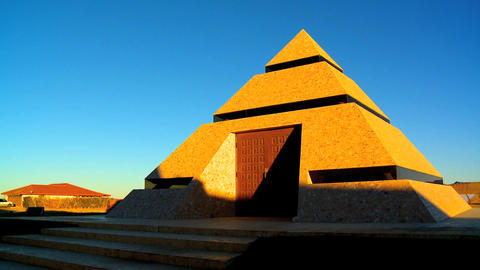 Modern museum inside pyramid Footage
