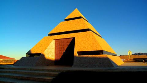 Modern museum inside pyramid Stock Video Footage