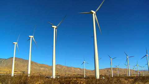 Cluster of wind turbines producing clean & renewable energy Footage