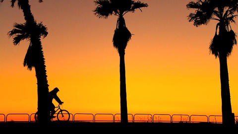 Cycling along the beach at sunset Footage