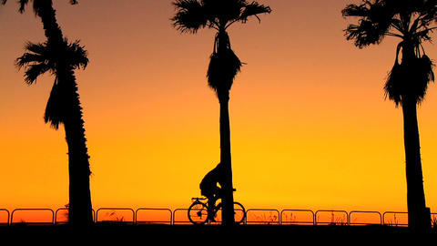 Cycling along the beach at sunset Stock Video Footage