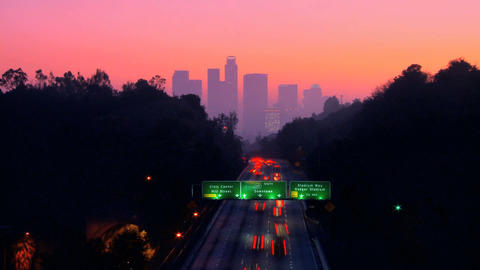 Timelapse of night traffic in downtown LA Stock Video Footage