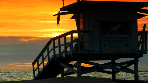 Sunset Over A Pacific Coast Beach Outside Los Angeles stock footage