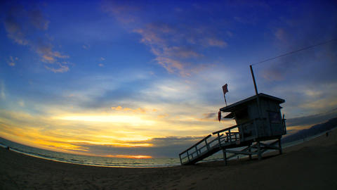 Fisheye View Of Sunset Over A Pacific Coast Beach Outside Los Angeles stock footage