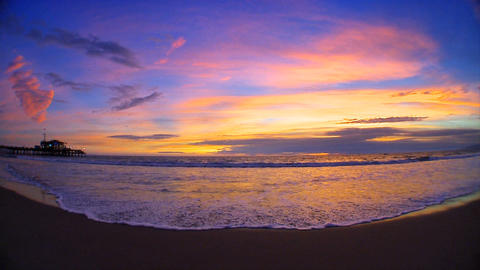 Fisheye view of sunset over a Pacific coast beach outside Los Angeles Footage