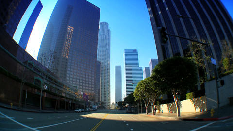 Point-of-view with fish-eye driving in downtown LA Footage