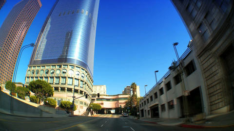 Point-of-view timelapse with fisheye of driving in downtown LA Footage