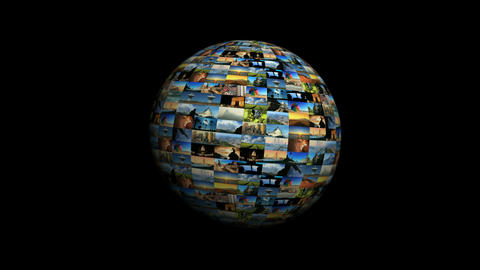 Moving travel globe of postcard views & pictures Stock Video Footage