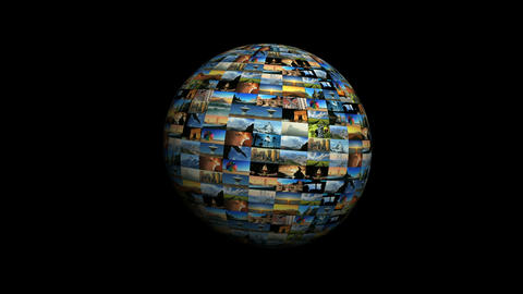 Moving travel globe of postcard views & pictures Footage