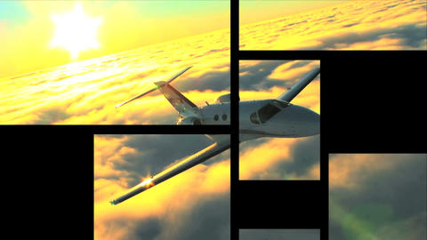 Multiple moving panels of business & corporate travel Stock Video Footage