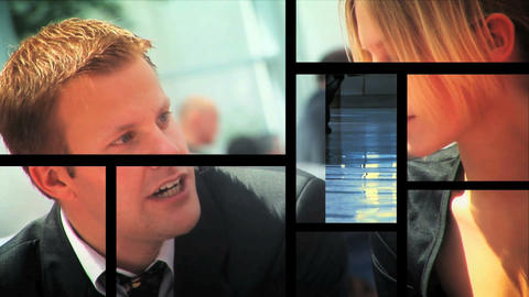 Multiple moving panels of scenes/images of business & people Stock Video Footage