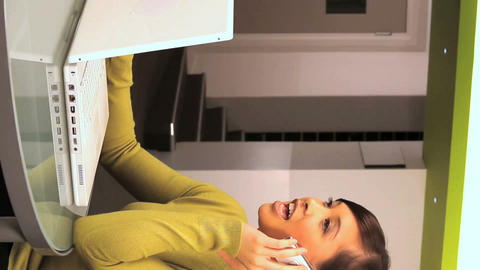 Vertical young western oriental businesswoman taking a... Stock Video Footage