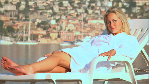 Beautiful blonde girl enjoying the mediterranean lifestyle Footage