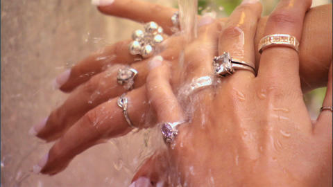 Beautiful hands & jewellery Stock Video Footage