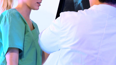 Healthcare staff working with x-ray charts Footage